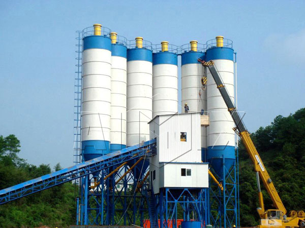 HZS180 central mix concrete plant