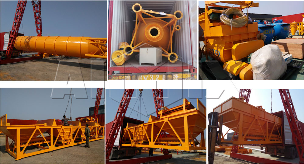 HZS35 stationary concrete batching plant was sent to Philippine
