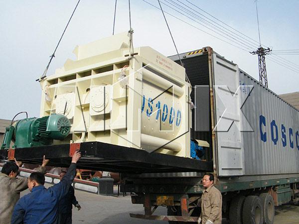 Nosso misturador de concreto de eixo duplo é exportado para as Filipinas
