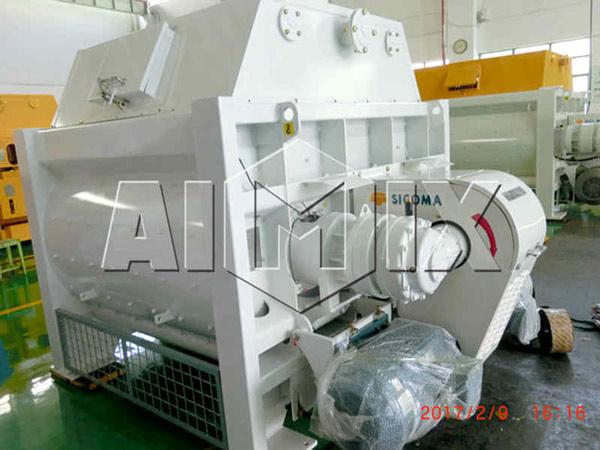 Embalagem do misturador de concreto AIMIX SICOMA de eixo duplo