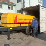AIMIX JS750 Compulsory Concrete Mixer and HBTS60 Diesel Concrete Pump were Delivered to Russia
