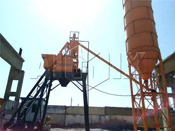 HZS35 stationary concrete batching plant