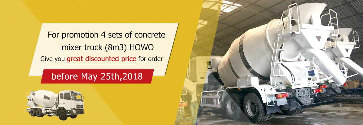 four sets 8m³ concrete mixer trucks are in stock