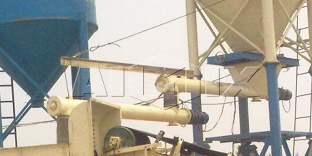 transportador helicoidal em estação de mistura de solo estabilizado
