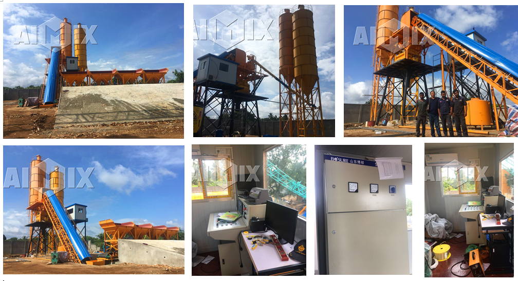 HZS60 stationary concrete batching plant was in Sri Lanka