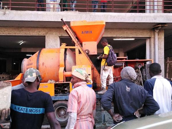 concrete mixer pump with diesel engine