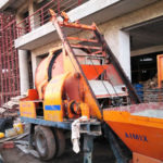 Working Condition Of JBS40R Concrete Mixer Pump With Diesel Engine Uganda