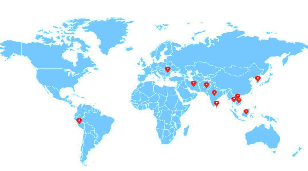 Nossa fábrica de gesso pronto está em todo o mundo
