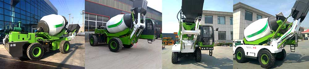 different angles of self loading concrete mixers
