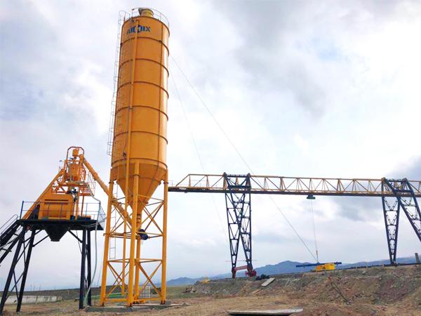 HZS50 stationary concrete batching plant Uzbekistan