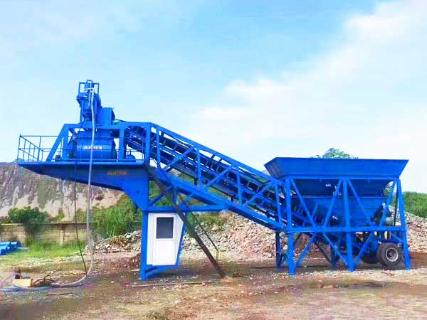 YHZS35 mobile concrete batching plant in Philippines