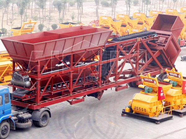 YHZS75 mobile concrete batch plants