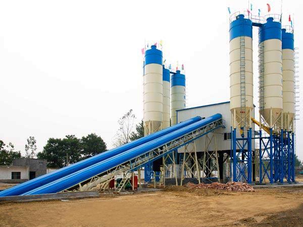 HZS120 belt conveyor batching plant