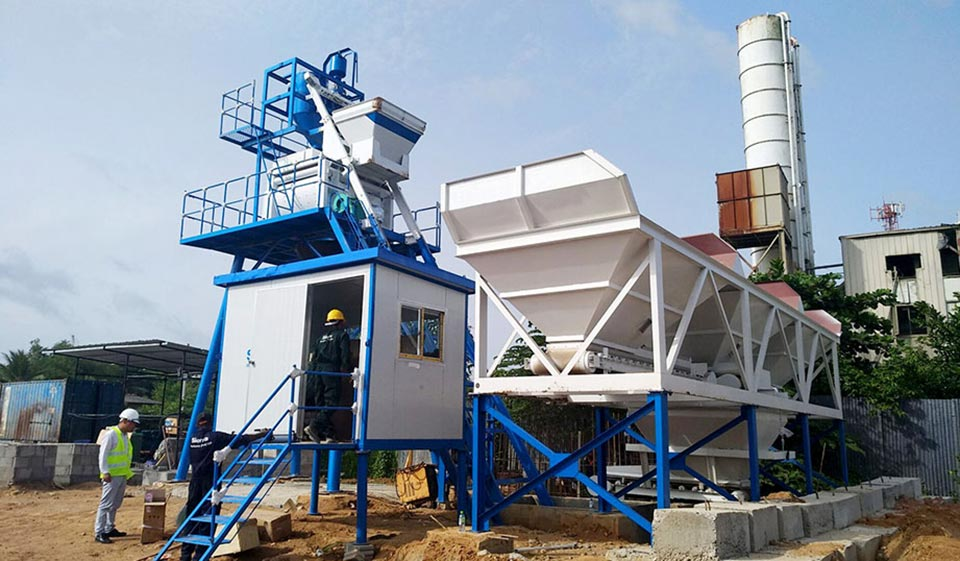 AJ-50 Skip Hoist Concrete Plant in Sri Lanka