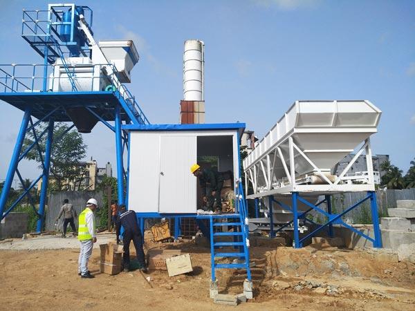 HZS50 skip hoist concrete plant