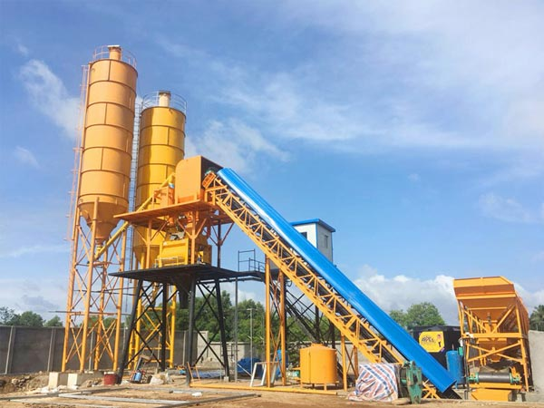 HZS60 belt conveyor concrete plant