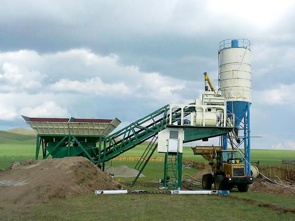 YHZS25 mobile ready mix concrete plant