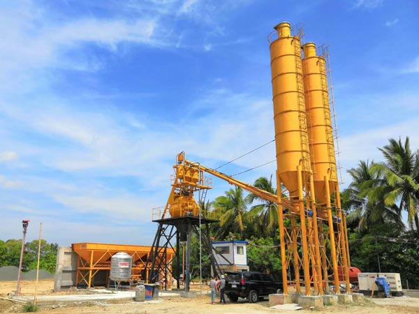 HZS35 concrete batching plant in Philippines