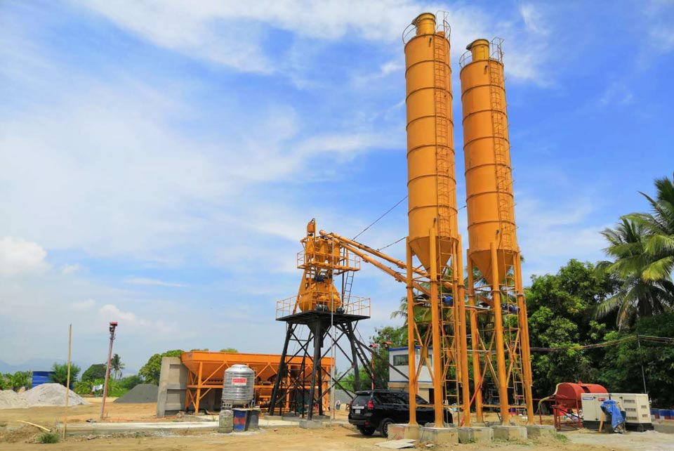 HZS35 stationary concrete batch plant philippines