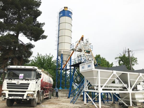 HZS50 skip hoist concrete plant installation