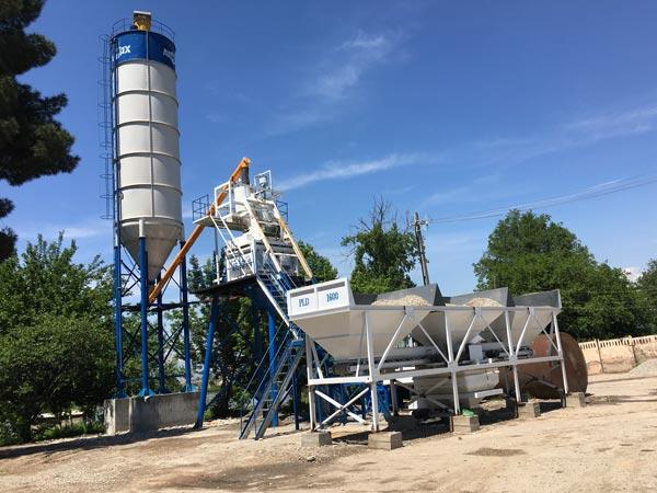 HZS50 stationary concrete plant Tajikistan