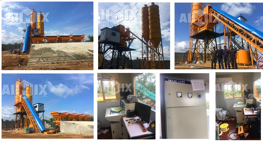 HZS60 concrete batching plant in Sri Lanka