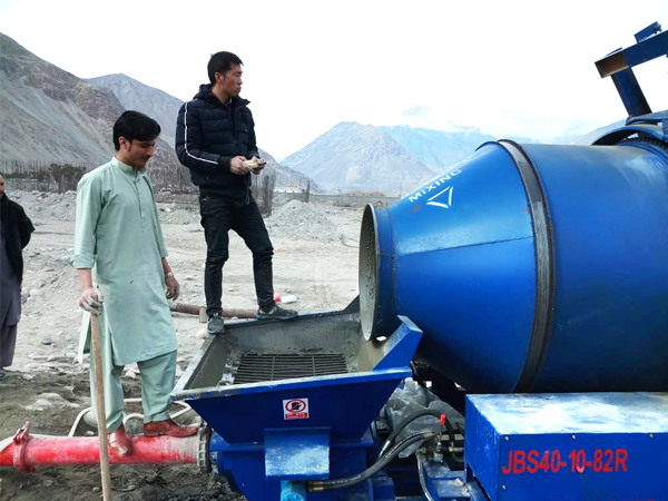 site of diesel concrete pump with mixer