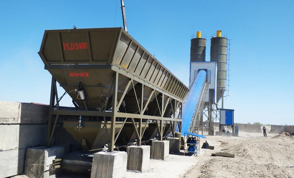 HZS90 belt conveyor concrete batching plant