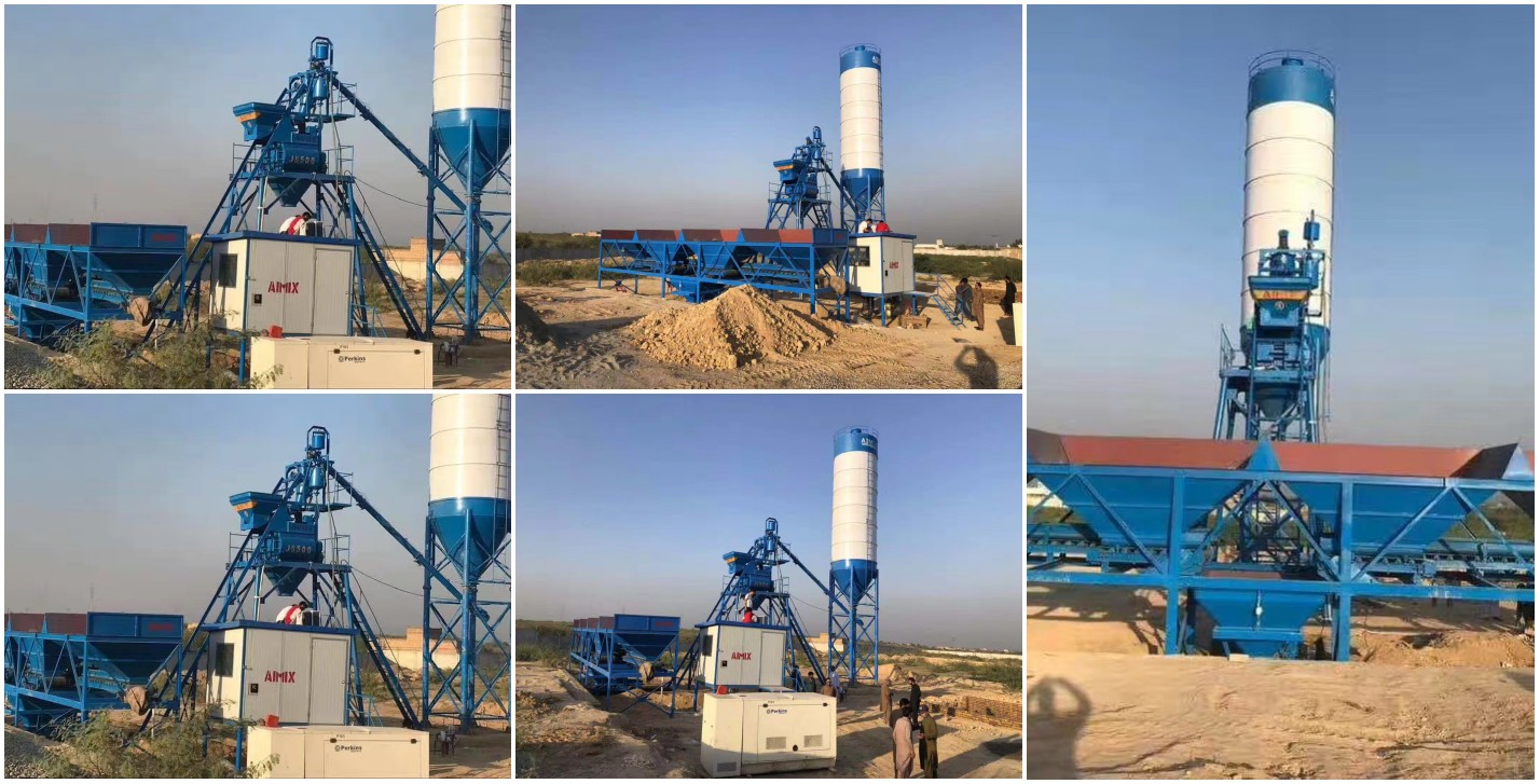 AJ-25 stationary concrete batching plant in Pakistan