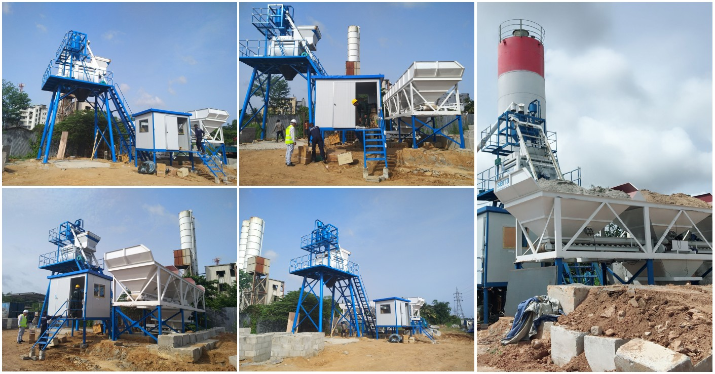 Installation of AJ-50 stationary concrete plant in Sri Lanka