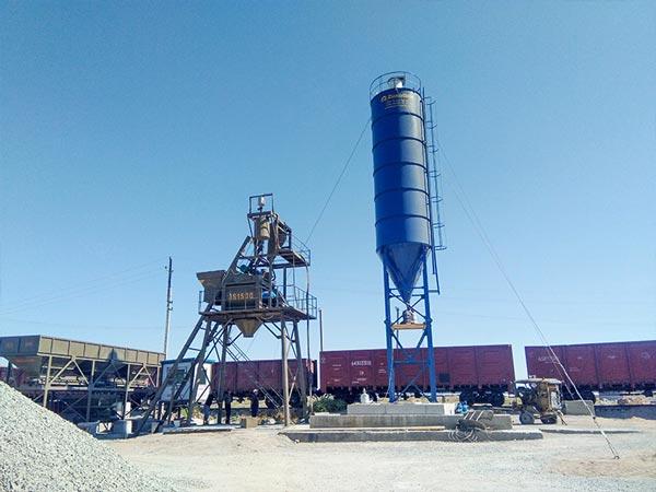AJ-75 hopper concrete plant in Uzbekistan