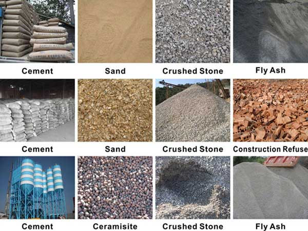 raw materials of hollow bricks