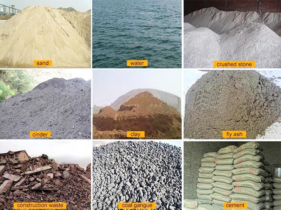 raw materials of interlocking brick production