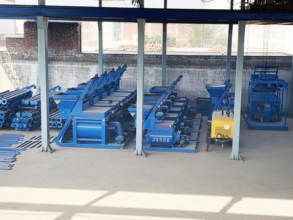 twin shaft concrete mixer in factory