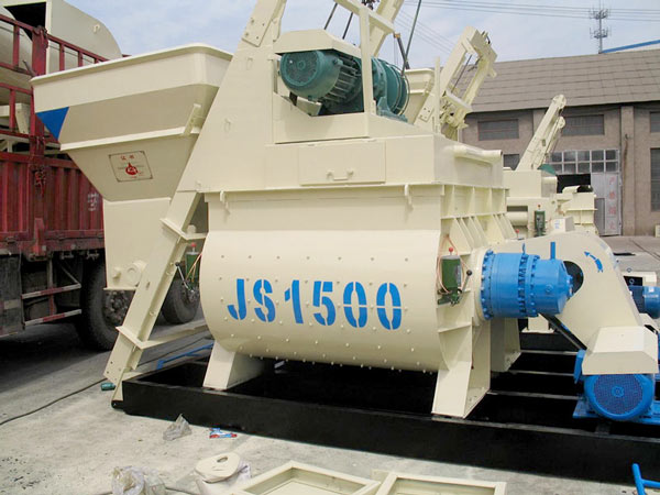 JS1500 twin shaft concrete mixer