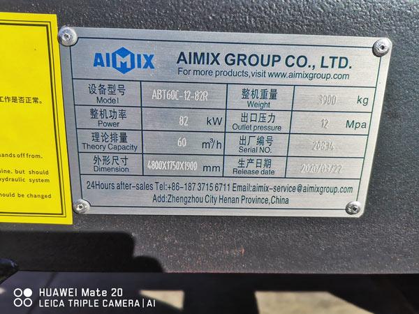 nameplate of concrete trailer pump