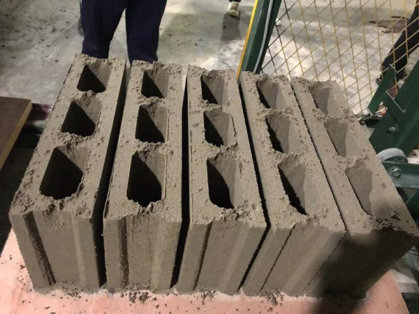 hollow blocks produced by ABM-3S fly ash brick machine
