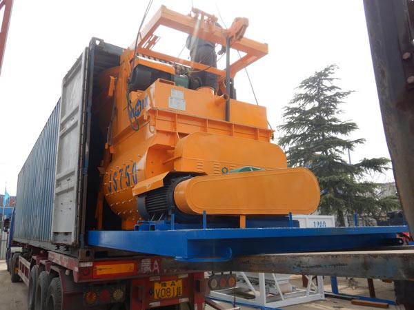 shipment of twin shaft concrete mixer