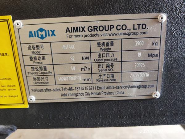 placa de identificação da bomba de concreto para reboque a diesel na Indonésia