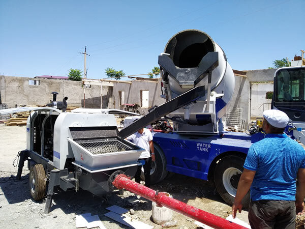 self loading mixer and trailer pump