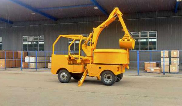 Caminhão misturador de concreto com caçamba autoportante
