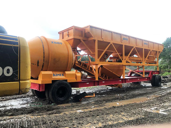 AJT-35 portable concrete mixer plant in Indonesia