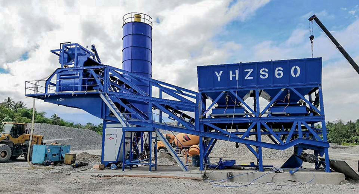 Fábrica móvel de concreto AJY-60 nas Filipinas