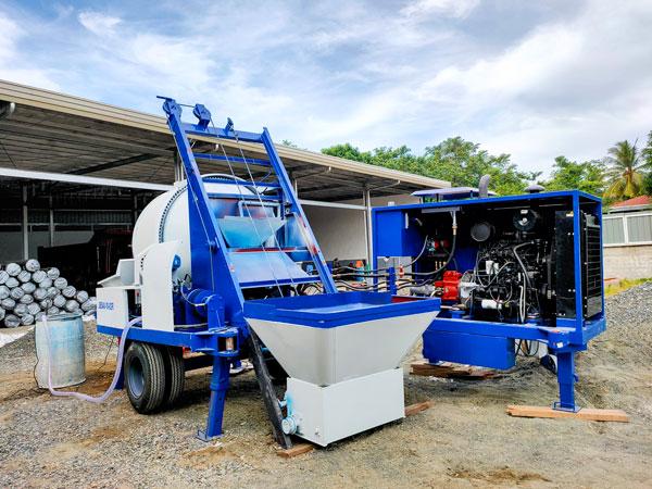 test run of mixer pump diesel engine