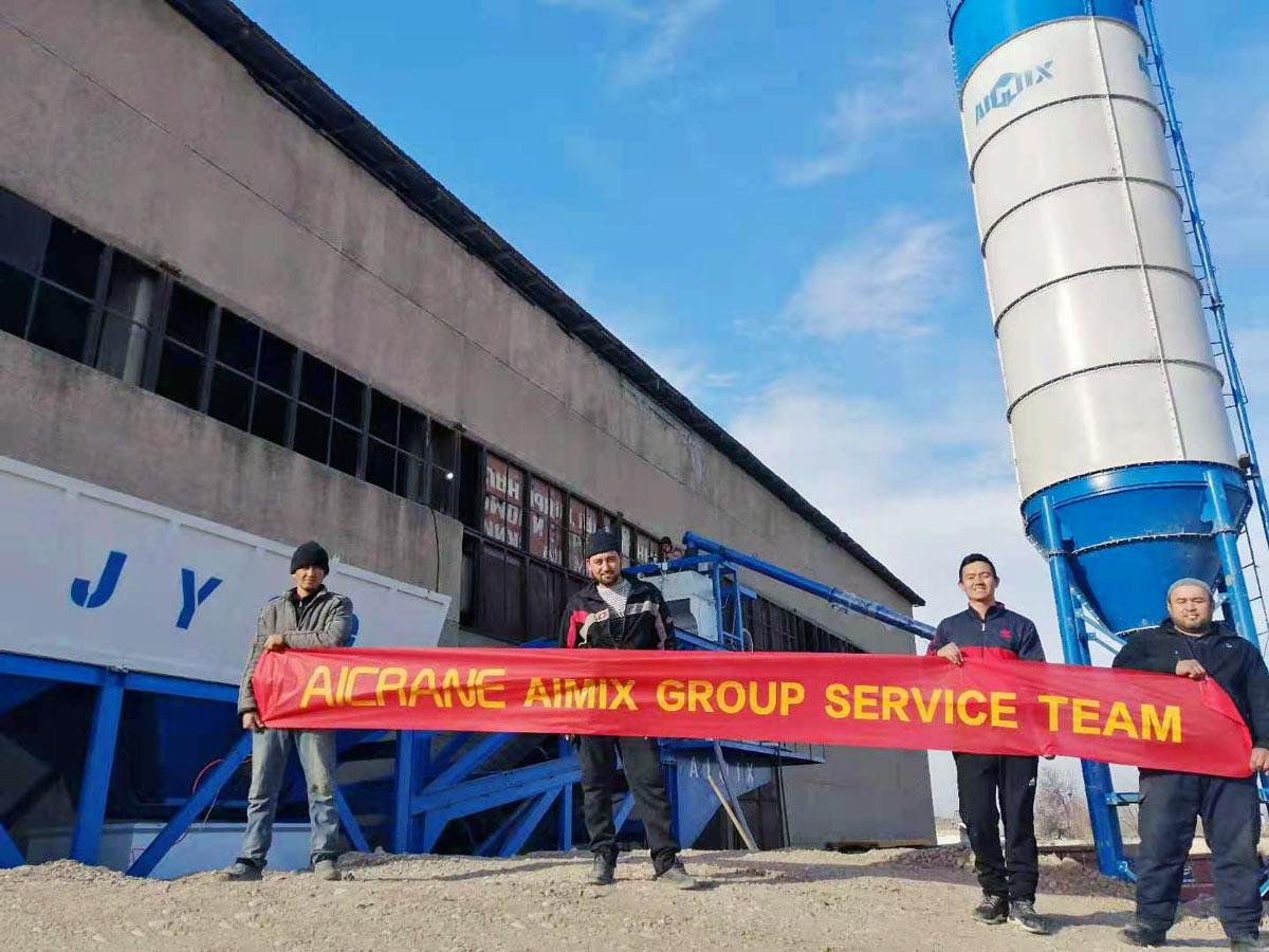 Fábrica de concreto móvel AJY-60 no Uzbequistão