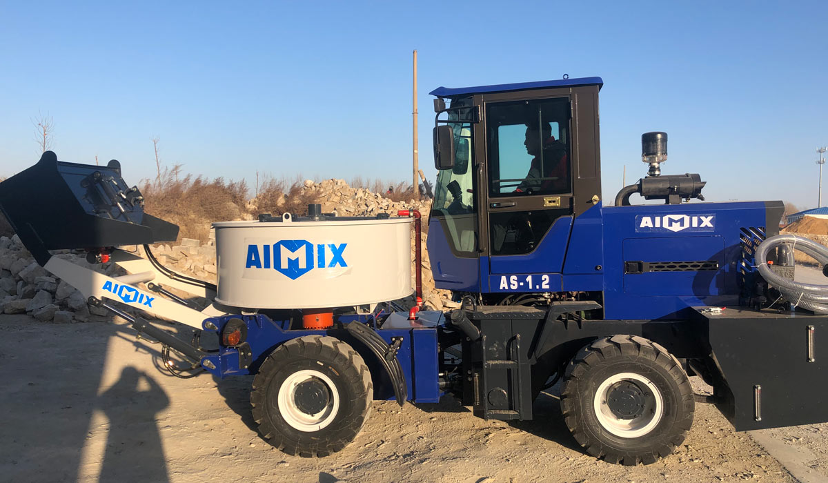 AS-1.2 self-loading concrete pan mixer