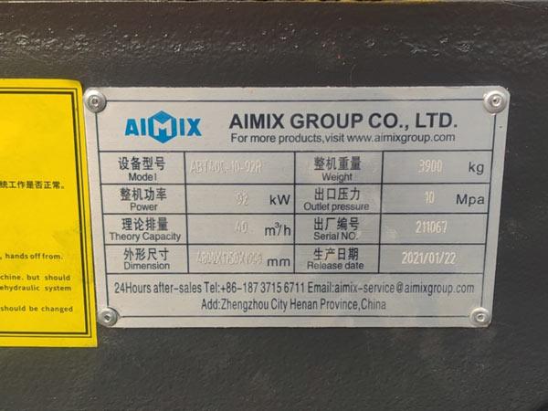nameplate of concrete pump