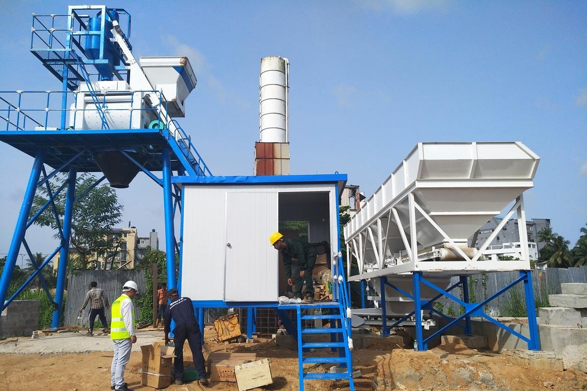 Instalação de planta de concreto AJ-50 no Sri Lanka