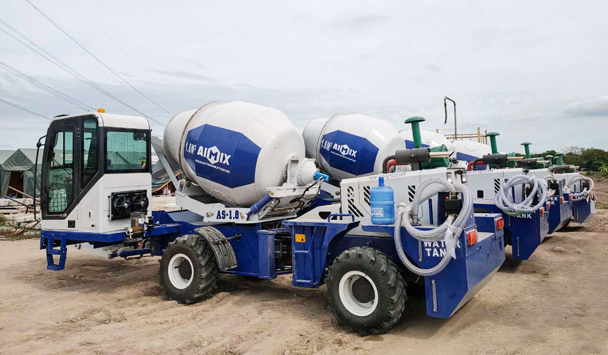 six sets of self loading concrete mixer with pumps in the Philippines