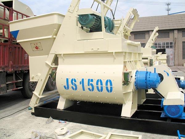 JS1500 twin shaft concrete mixer